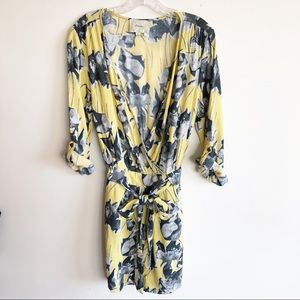 Anthropologie Elevenses Yellow Floral Romper Large